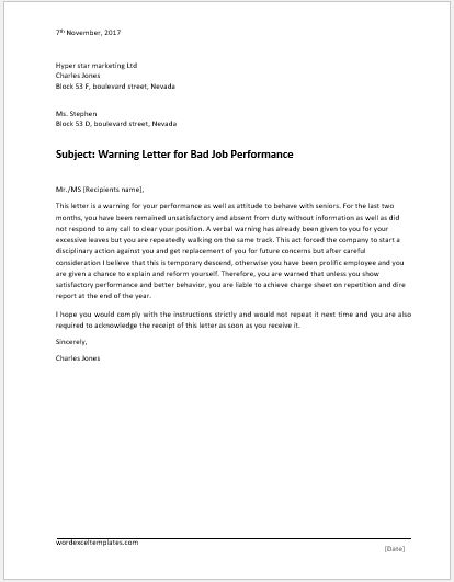 Violation Of Discipline Warning Letter Word & Excel