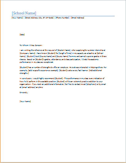 Student Reference Letter Word Template  Word  Excel