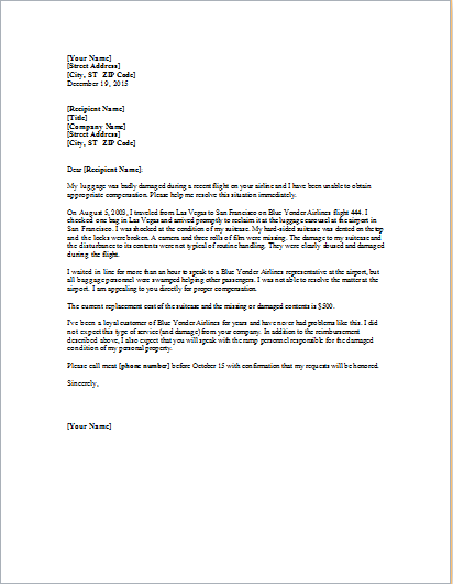 Complaint Letter about Damaged Luggage  Word  Excel