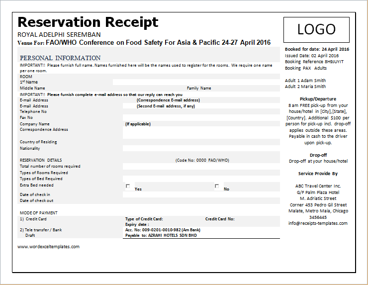 Reservation Receipt Template WORD Format Word & Excel