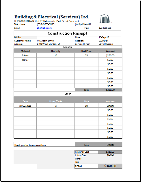 Construction Receipt Template for EXCEL  Word  Excel Templates