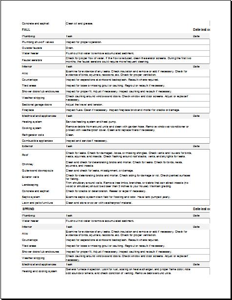 Building Maintenance Checklist Template  Word  Excel