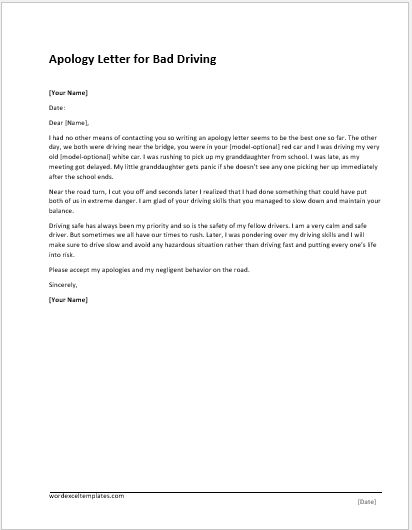 Apology Letter Templates For WORD Word & Excel Templates