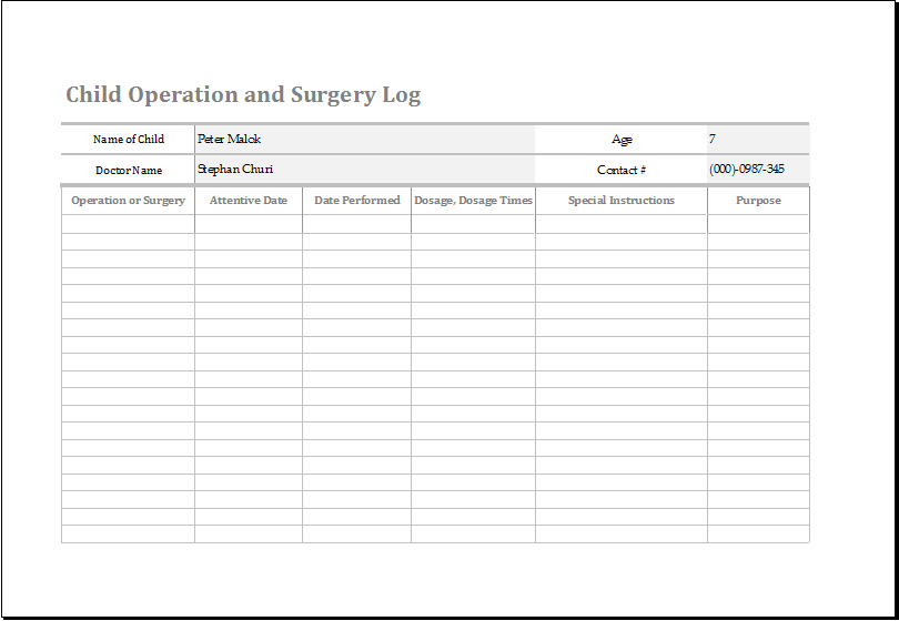 Child Operation and Surgery Log  Word  Excel Templates