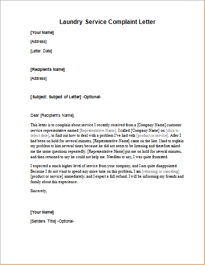 Complaint Letter For Poor Laundry Service | Sample Resumes