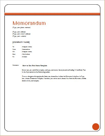 memo template ms word