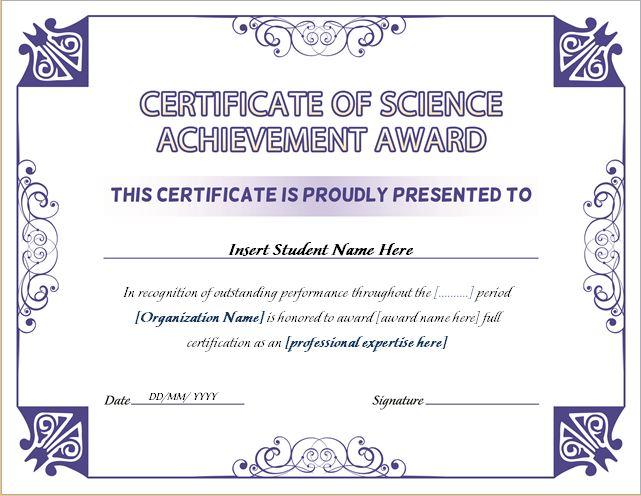 Science Achievement Award Certificates  Word  Excel