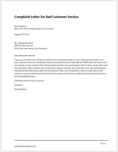 Complaint Letter for Illegal Parking  Word  Excel Templates