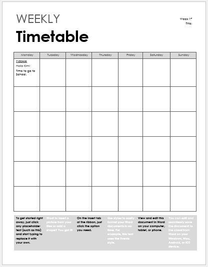 timetable templates