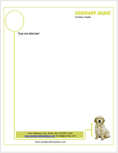 Animal Design Letterhead Templates for MS Word  Word  Excel Templates