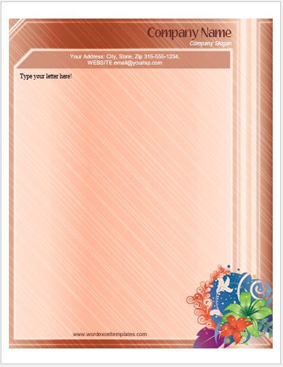 Floral Letterhead Templates for MS Word  Word  Excel