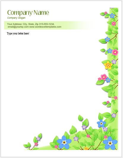 Floral Letterhead Templates for MS Word  Word  Excel Templates