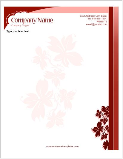 Floral Letterhead Templates For MS Word Word Amp Excel Templates