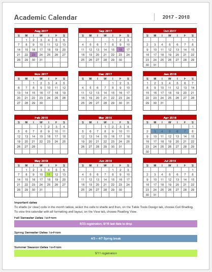 one day calendar template
