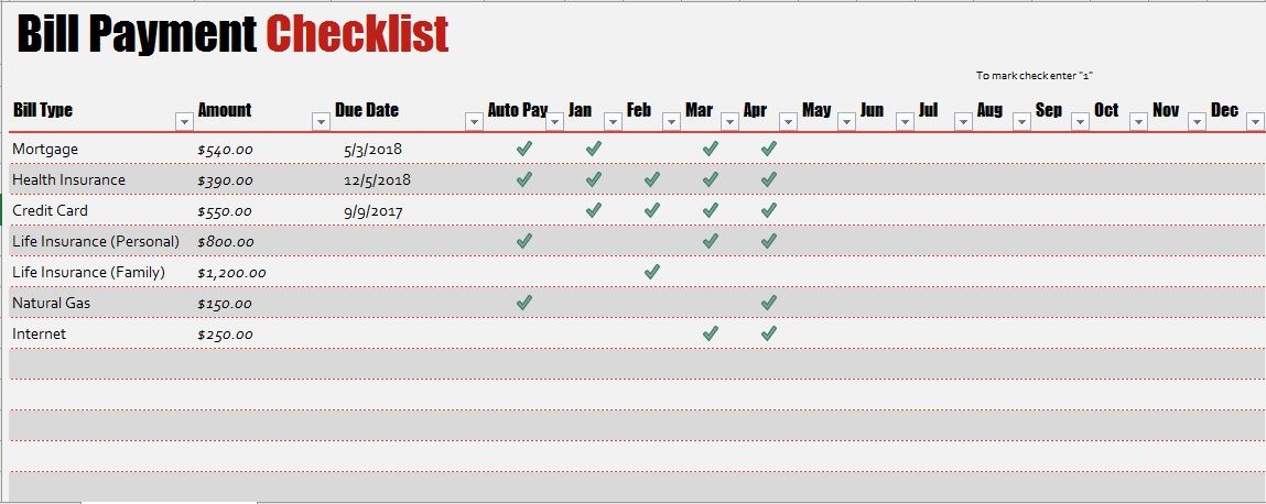 Bill Payment Checklist Templates for MS Excel  Word  Excel Templates