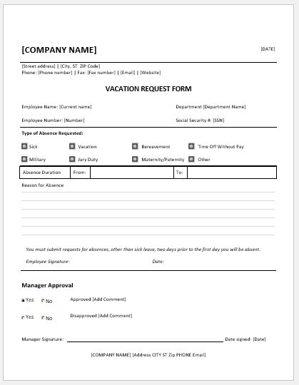 Employee Vacation Request Forms for MS Word  Word  Excel Templates