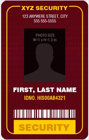 Security GuardOfficer Photo ID Badges for MS Word  Word  Excel Templates