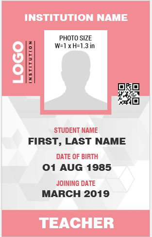 Teacher Photo ID Badge Templates For MS Word Word