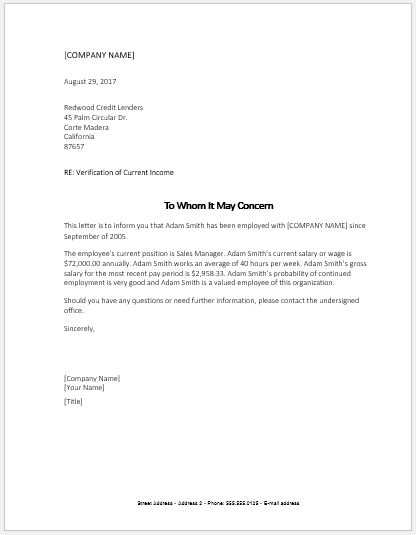 Income Verification Letter SAMPLE MS Word Word & Excel