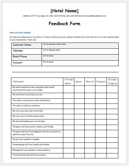 The perception and impression of your clients can greatly affect the brand of your business. Hotel Services Feedback Form Template Ms Word Word Excel Templates