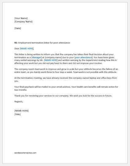 Employment Termination Letters Writing Guide  Template