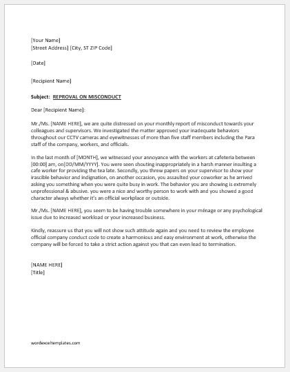 Reprimand Letter for Bad Attitude at Work  Word  Excel Templates