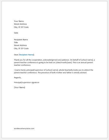 Pa Teacher Conference Invitation Letter