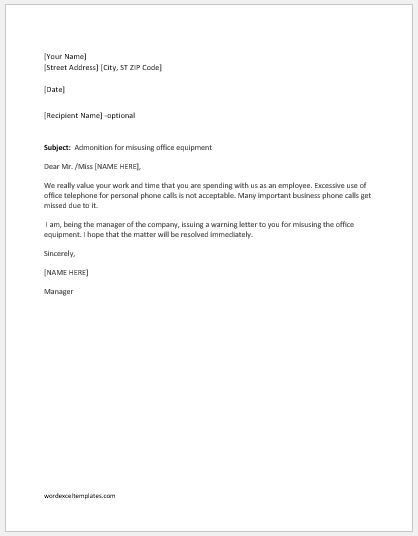 Warning Letter for Misusing Office Equipment  Word