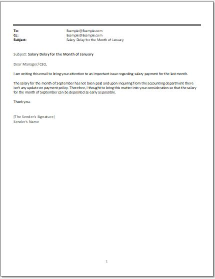 Salary Delay Email to Boss SAMPLES  Word  Excel Templates