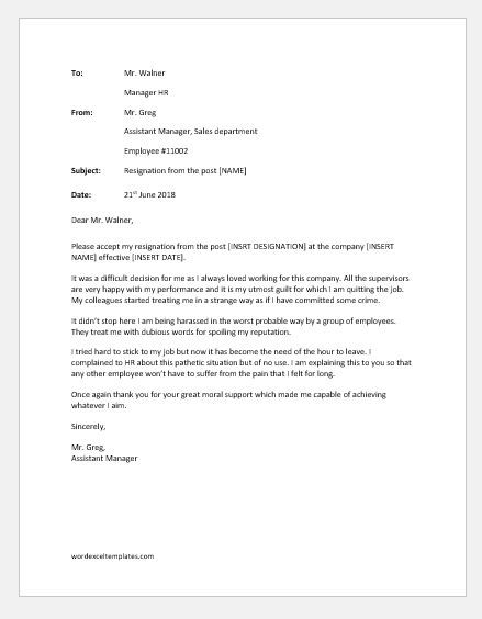 Resignation Letter Due to Harassment  Word  Excel Templates
