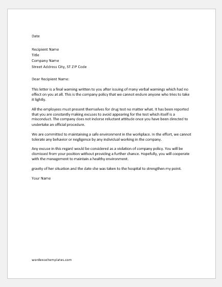 Warning Letter for Refusal to Submit Alcohol and Drug Test