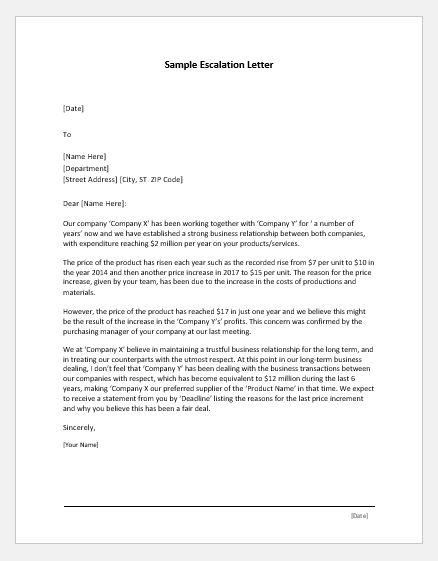 Escalation Letter Samples for MS Word  Word  Excel Templates