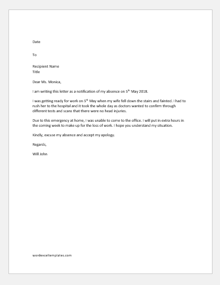 Excuse Letter for being Absent from Work due to Emergency  Word  Excel Templates