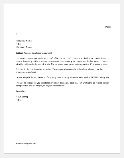 Grievance Letter to HR on Salary Hold  Word  Excel Templates