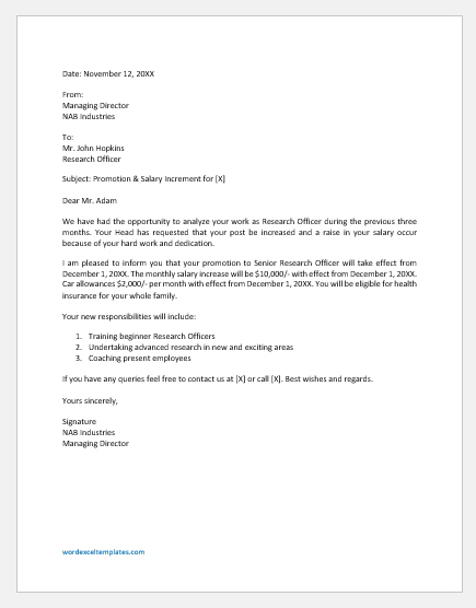 Salary Increment Letter To Employee