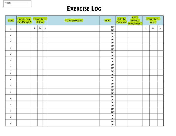 free workout log template
