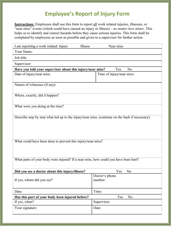 5 Sample Injury Form Templates to Create an Injury Report
