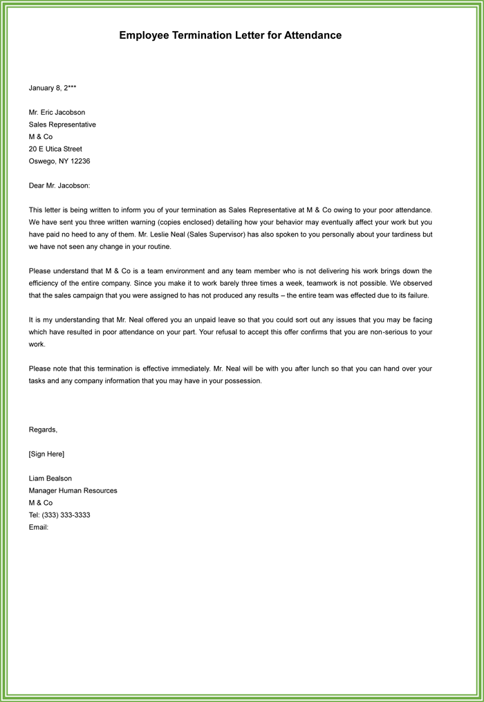 Sample Letter Of Termination Of Employment Contract Due To