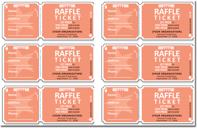 raffle ticket template free microsoft word