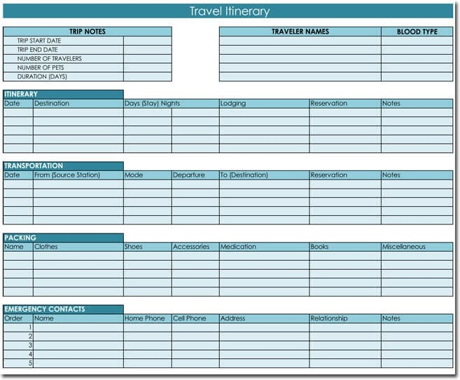 Free Itinerary Templates To Perfectly Plan Your Trips Travel Plans