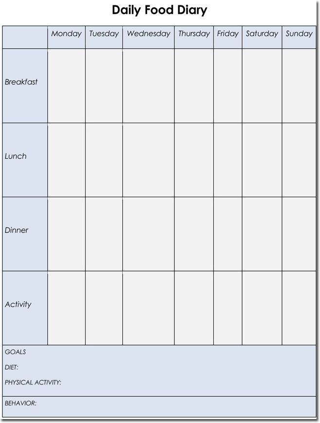 food diary excel