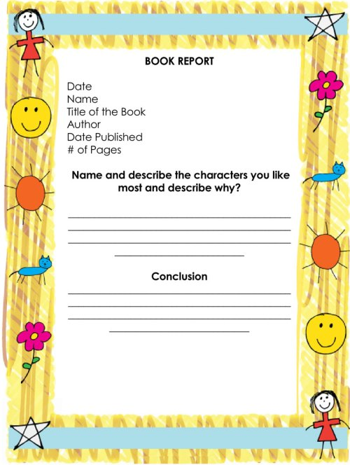 small resolution of Free Book Report \u0026 Worksheet Templates - Word Layouts