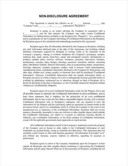 Non Disclosure Agreement Template 33