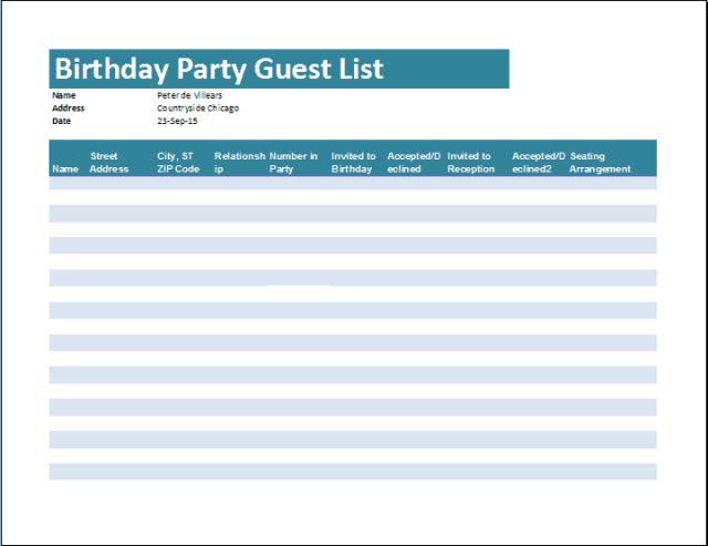 guest list template 44