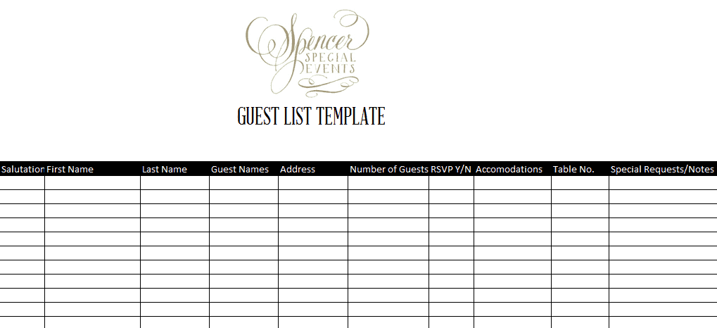 Nice Word MS Templates Throughout Event Guest List Template