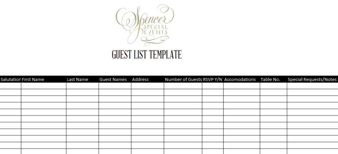 Doc601468 Printable Wedding Guest List Spreadsheet Sample – Sample Wedding Guest List