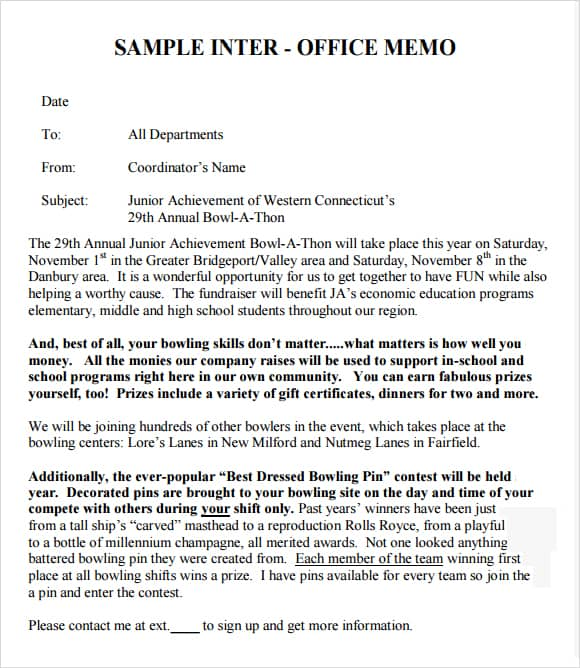 5 Interoffice Memo Templates Excel PDF Formats – Sample of Interoffice Memo