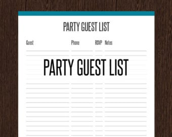 Word MS Templates  Party Guest List Template