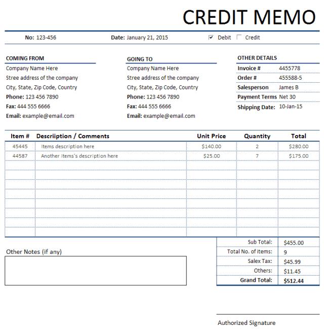 memo invoice template 11