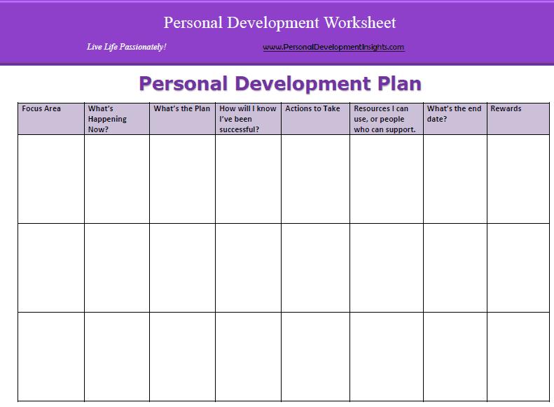 Personal Development Planner Example